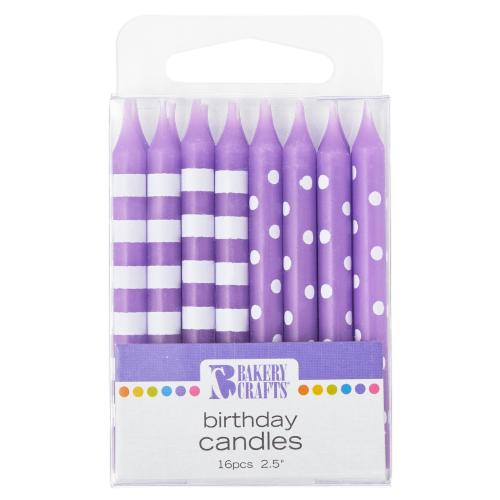 Bakery Crafts Purple with Stripes & Polka Dots Birthday Candles Perspective: front