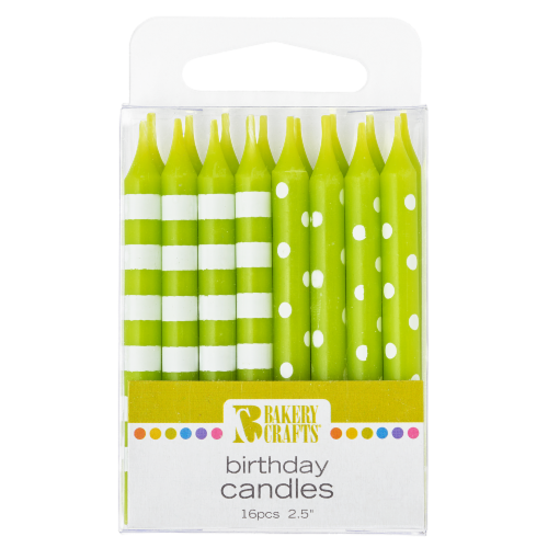Bakery Crafts Lime Green with Stripes & Polka Dots Birthday Candles Perspective: front