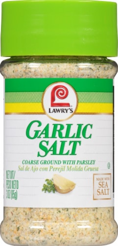 Lawry's Coarse Ground Garlic Salt with Parsley Shaker Perspective: front