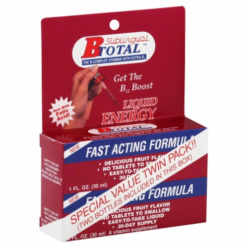 B Total Fast Acting Formula Liquid Energy B12 Boost Perspective: front