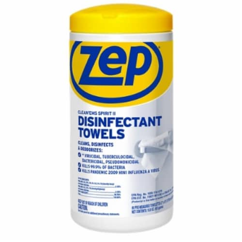 Zep® Clean'ems Spirit II Disinfectant Towelettes Perspective: front
