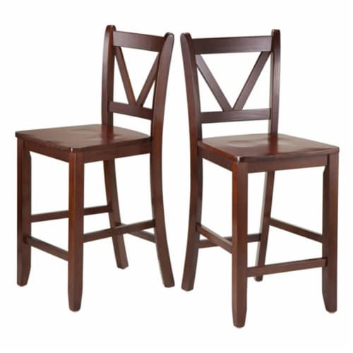 Winsome Victor 24 Inch Tall Solid Wood Counter Bar Stool Set, 2 Piece, Brown Perspective: front
