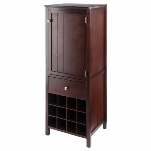 Winsome Brooke Wooden Wine Rack Jelly Cupboard in Walnut Perspective: front