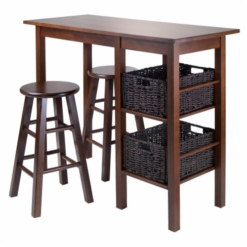 Winsome Egan 3 Piece Breakfast Dining Set and 2 Baskets Perspective: front