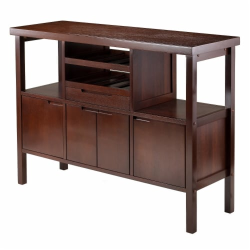 Winsome Diego Wine Rack Buffet Table in Walnut Perspective: front
