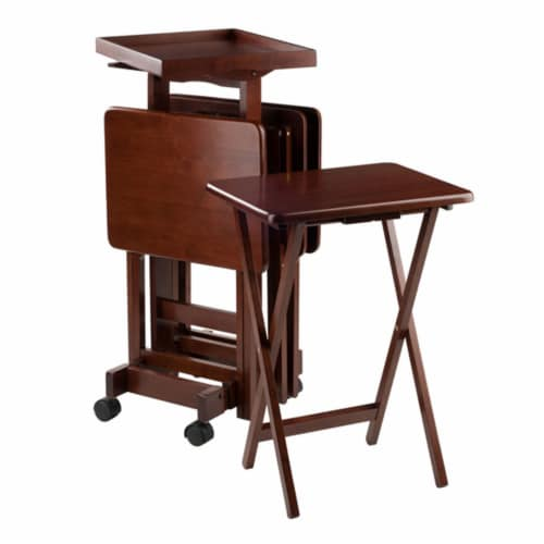 6-PC Snack Table Set Walnut Perspective: front