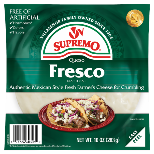 VV Supremo Queso Fresco Mexican Fresh Crumbling Cheese Perspective: front