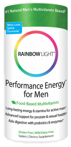 Rainbow Light Performance Energy for Men Gluten Free Tablets Perspective: front