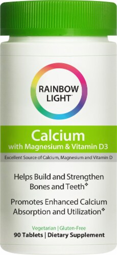 Rainbow Light Food-Based Calcium with Magnesium & Vitamin D3 Gluten Free Tablets Perspective: front