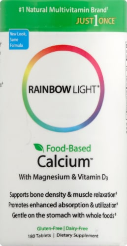 Rainbow Light Food-Based Calcium with Magnesium & Vitamin D3 Tablets Perspective: front