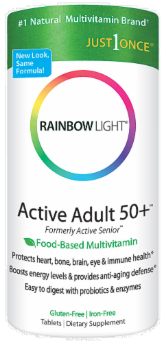 Rainbow Light Active Adult 50+ Multivitamin Gluten Free Tablets Perspective: front