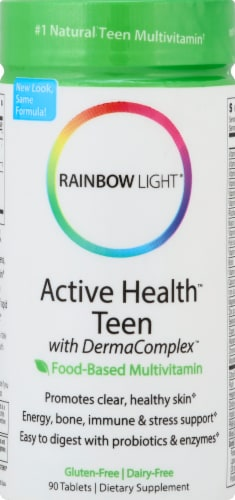 Rainbow Light Active Health Teen with DermaComplex Multivitamin Gluten Free Tablets Perspective: front