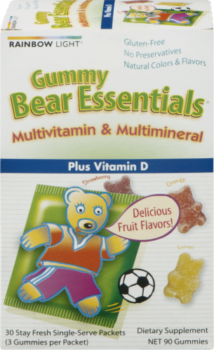 Rainbow Light Gummy Bear Essentials Multivitamin & Multimineral Plus Vitamin D Gummies Packets Perspective: front