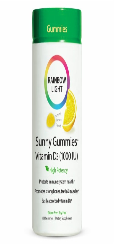 Rainbow Light Vitamin D3 Lemon Flavor Sunny Gummies 1000IU Perspective: front