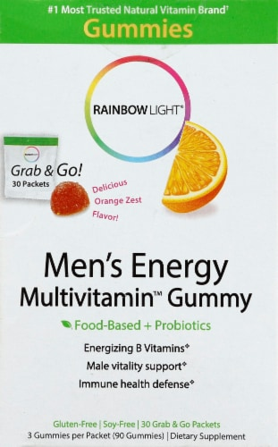 Rainbow Light Men's Energy Multivitamin Orange Zest Flavor Gummies Packets Perspective: front