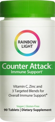 Rainbow Light Counter Attack Immune Support Health Herbal Supplement Tablets Perspective: front