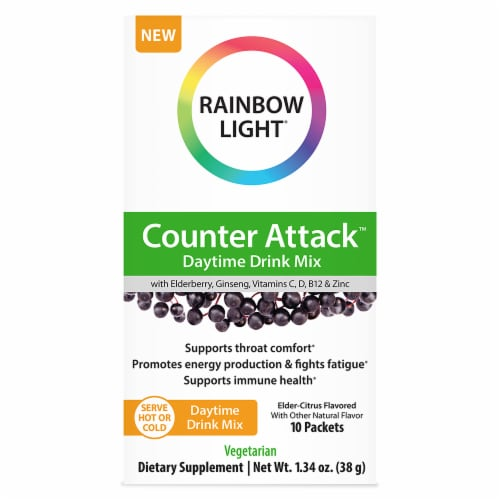 Rainbow Light Counter Attack Daytime Elder-Citrus Drink Mix 10 Count Perspective: front