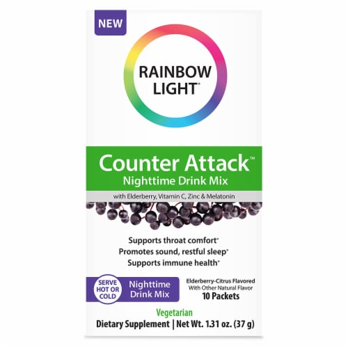 Rainbow Light Counter Attack Elderberry-Citrus Flavored Nighttime Drink Mix Packets 10 Count Perspective: front