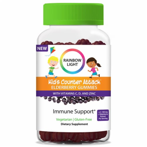 Rainbow Light Kid's Counter Attack Elderberry Gummies Perspective: front