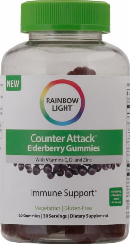 Rainbow Light Counter Attack Elderberry Gummies Perspective: front