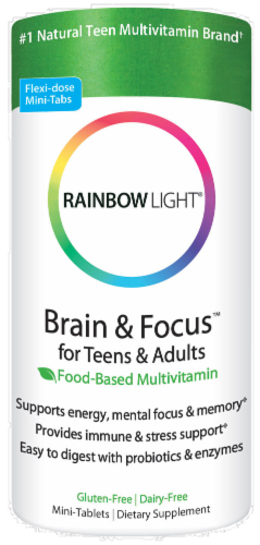 Rainbow Light Brain & Focus for Teens & Adults Food-Based Multivitamin Tablets Perspective: front