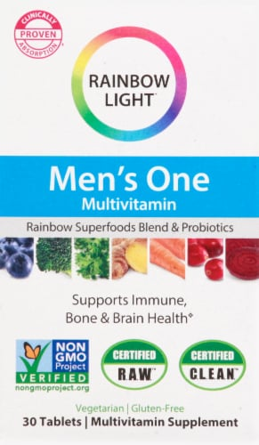 Rainbow Light Men's One Multivitamin Supplement Tablets Perspective: front