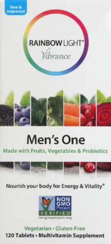 Rainbow Light Vibrance Men's One Multivitamin Tablets 120 Count Perspective: front