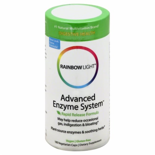 Rainbow Light Advanced Enzyme System Vegan Caps Perspective: front