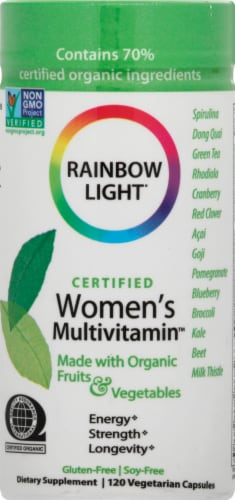 Rainbow Light Organic Women's Multivitamin Vegetarian Capsules Perspective: front