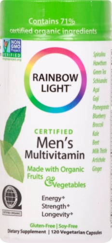 Rainbow Light Organic Men's Multivitamin Vegetarian Capsules Perspective: front