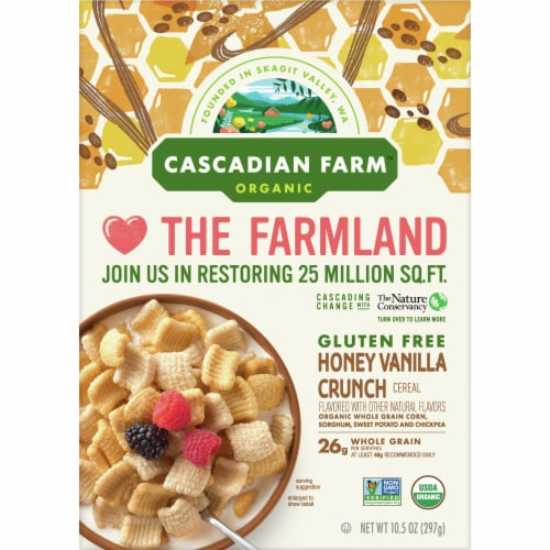 Cascadian Farm Organic Gluten Free Honey Vanilla Crunch Cereal Perspective: front