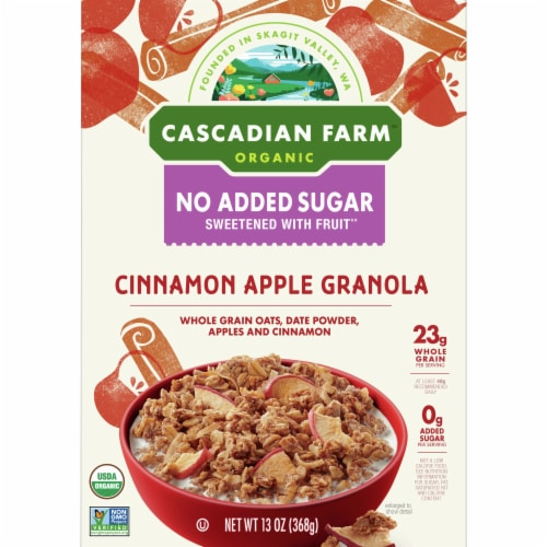 Cascadian Farm Organic No Added Sugar Cinnamon Apple Granola Perspective: front
