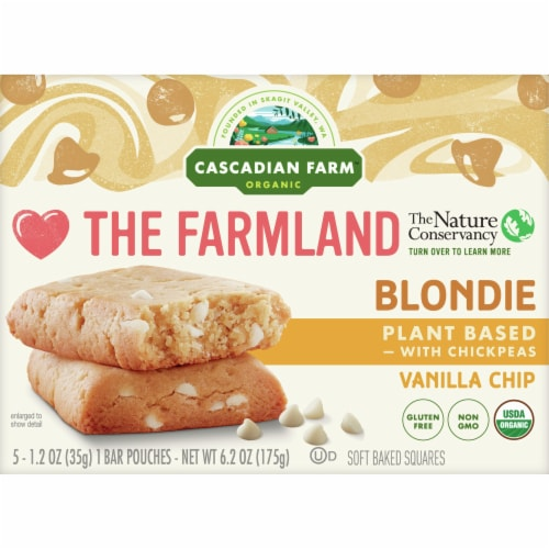 Cascadian Farm Organic Vanilla Chip Blondie Soft Baked Squares Perspective: front