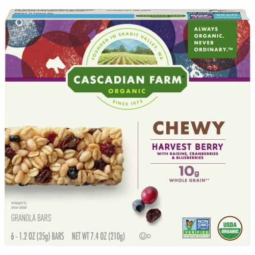 Cascadian Farm Organic Harvest Berry Chewy Granola Bars 6 Count Perspective: front