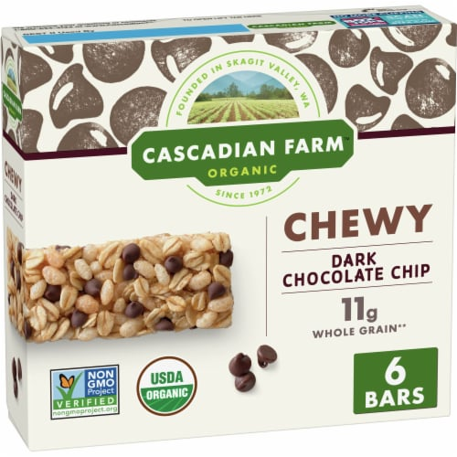 Cascadian Farm Organic Chewy Dark Chocolate Chip Granola Bars 6 Count Perspective: front