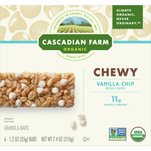 Cascadian Farm Organic Vanilla Chip Chewy Granola Bars Perspective: front