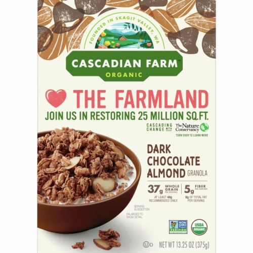 Cascadian Farm Organic Dark Chocolate Almond Granola Cereal Perspective: front