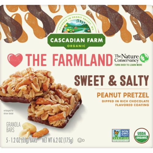 Cascadian Farm Organic Sweet & Salty Peanut Pretzel Chewy Granola Bars 5 Count Perspective: front