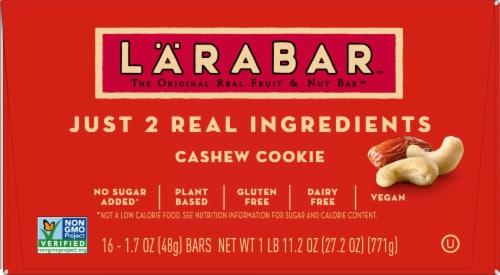 Larabar Cashew Cookie Snack Bar Perspective: front