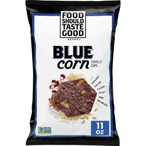 Food Should Taste Good Blue Corn Tortilla Chips Perspective: front