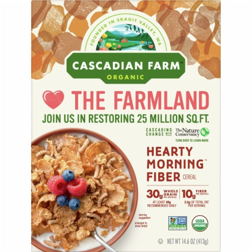 Cascadian Farm Organic Hearty Morning Fiber Cereal Perspective: front