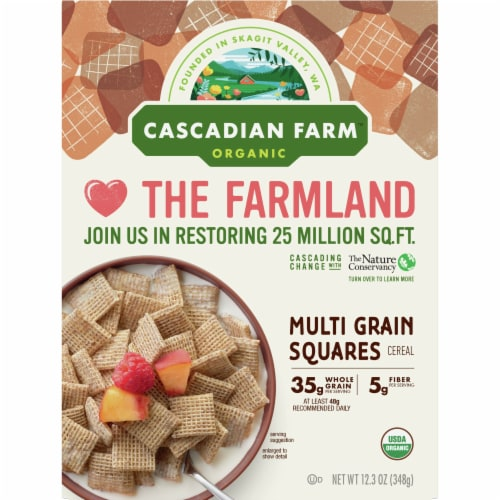 Cascadian Farm Organic Multi Grain Squares Cereal Perspective: front