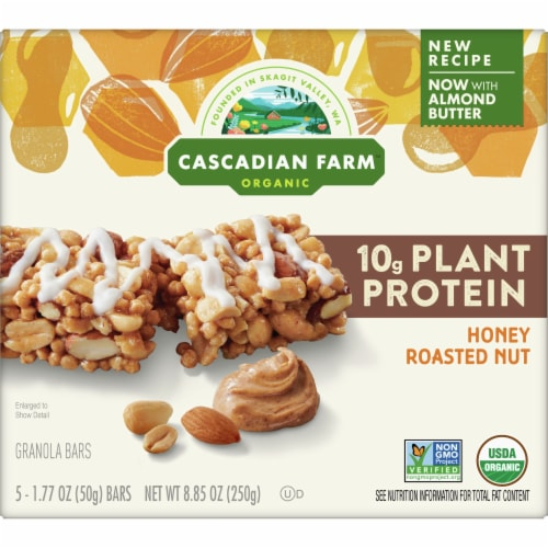 Cascadian Farm Organic Protein Honey Roasted Nut Chewy Bars 5 Count Perspective: front