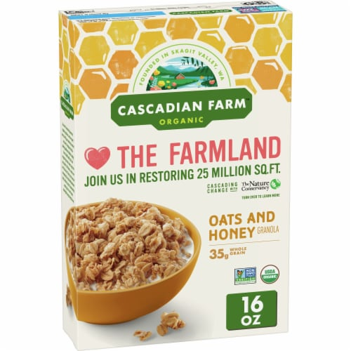 Cascadian Farm Organic Oats & Honey Granola Cereal Perspective: front
