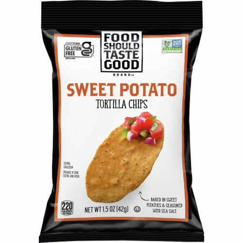 Food Should Taste Good Sweet Potato Tortilla Chips Perspective: front