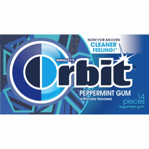 ORBIT Peppermint Sugar Free Chewing Gum 14 Count Perspective: front