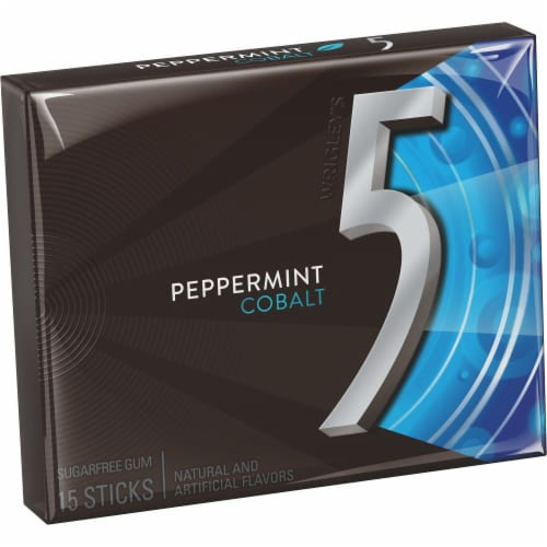 5 Gum Peppermint Cobalt Sugarfree Gum Perspective: front