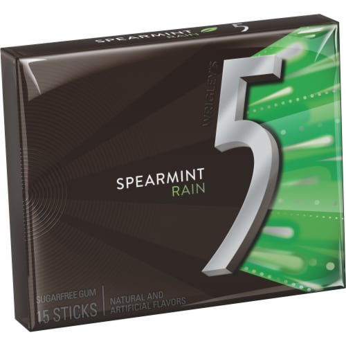 Five Spearmint Rain Sugarfree Gum Perspective: front