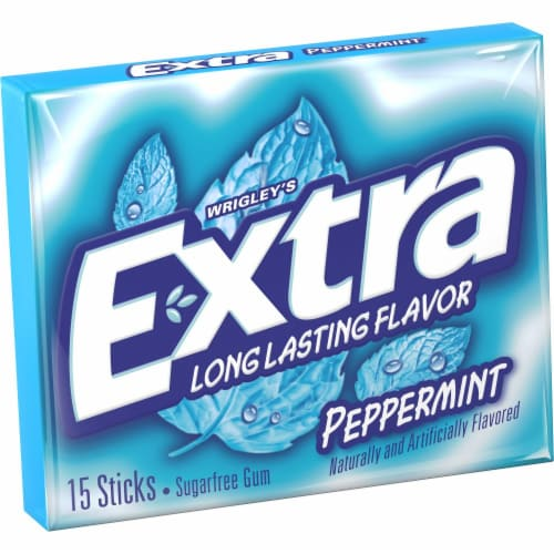 EXTRA Peppermint Sugar Free Chewing Gum 15 Count Perspective: front
