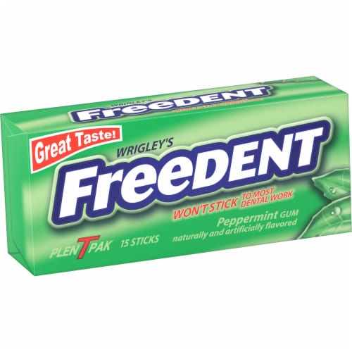 Wrigley's Freedent Peppermint Gum Perspective: front